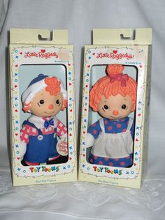 Little Raggedys, Raggedy Ann and Andy each in box c.1990s
