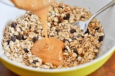 5 ingredient peanut butter granola bars. Why eat store bought when you can make your own and know exactly what's in them!