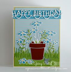 PamSparks, Happy Birthday Garland, Fancy Flower Pot, Memory Box, Summer release 2014