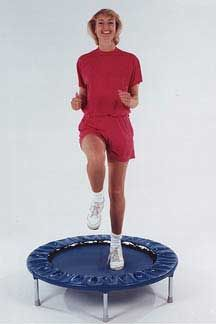 """Vigorous exercise such as rebounding is reported to increase lymph flow by 15 to 30 times. Bones become stronger with exercise. Women who exercise regularly reduce their risk of breast cancer by 72%. Everyone starts with the """"health bounce"""" which means your feet remain in contact with the mat while the body moves up and down."""