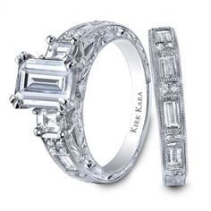 Emerald cut diamond ring and band