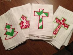 Perfect Teacher, Neighbor, or Office Gift! Christmas Tree or Cross Hand Towels for the Bathroom