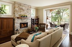 Fire Place living rooms, color, indoor outdoor, fireplace design, family rooms, living room designs, live room, stone fireplaces, traditional homes