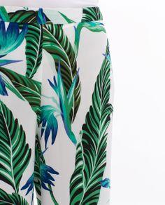 FLOWY WIDE TROUSERS WITH LEAF PRINT from Zara