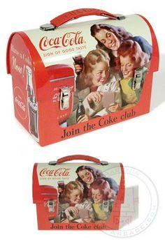 Coke Club Girls Tin Lunch Box 1950