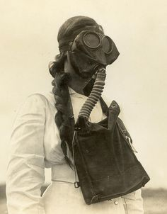 Nurse wearing a gasmask during World War 1. Reeve collection