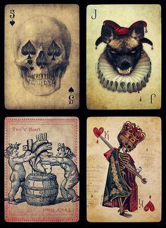 skull, deal, play card, art, dead card