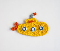 PDF Crochet Pattern - Yellow Submarine Applique - Text instructions and SYMBOL CHART instructions - Permission to Sell Finished Items. via Etsy.