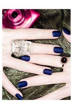 navy blue matte. LOVE. hair-and-makeup