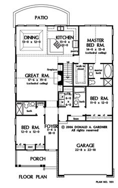 First Floor Plan of The Chesterfield - House Plan Number 1151  Patio lot size