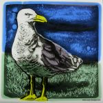 "Lynette Richards' Fine Art Gallery- Seagull Standing Painted Fused Glass 6"" square"