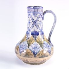 Laura Anne Fry pitcher, 1882, marked Rookwood Pottery and Cincinnati Pottery Club. Incised decoration with underglaze colors, inspired by Hanna Barlow's work at the Doulton Lambeth Pottery in England. This vase also resembles many of the woodcarved motifs used in Cincinnati carved furniture by Laura Anne Fry and her father William Henry Fry. Currently in the collection of the Metropolitan Museum of Art, 2008.103. Height 7 inches.