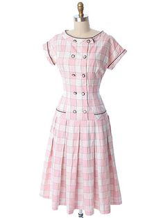 JUST IN! 50s 60s Dropped Waist Pink Plaid Check Full Dress #50sdresses #60sdresses #bluevelvetvintage