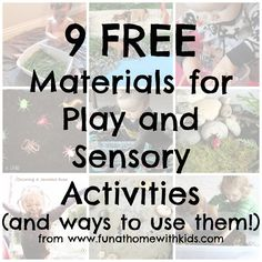Nine FREE Materials for Play and Sensory Activities | FUN AT HOME WITH KIDS