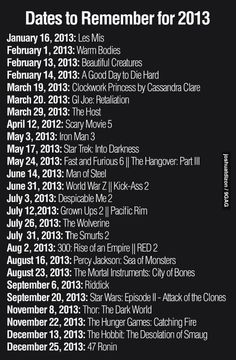 Only things missing are anchorman this summer and paranormal activity 5 in October =)