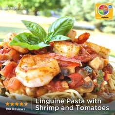 Linguine Pasta with Shrimp and Tomatoes from Allrecipes.com #myplate #grain #protein #veggies