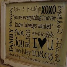 Words & quotes about family - vinyl on glass in a frame. Would make a great gift!