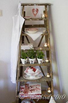 Vintage wooden ladders. Old ladder. Échelles en bois vintage. Escalera ideas.