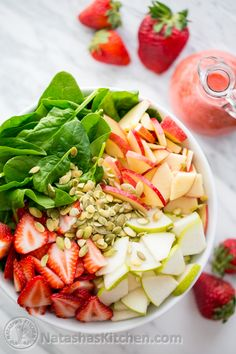 Strawberry, Apple and Pear Spinach Salad