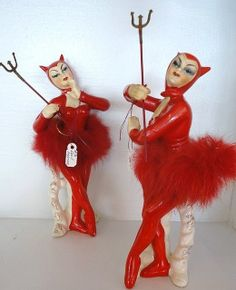 Ceramic Devil Women - Vintage Devils, possibly made in Japan, very rare to find with forks and in this condition. They were also made in other colors such as Yellow, Black and Green.