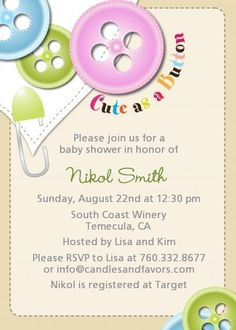 Cute As a Button - Baby Shower Invitations girl baby showers, shower invitations, tractor truck, american girl, button babi, shower idea, sweet peas, babi shower, parti