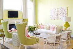 interior design, design homes, living rooms, home interiors, chairs, green, colors, pink, live room