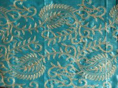 Aqua silk & metallic gold embroidery