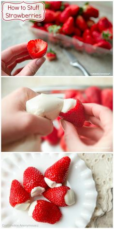 Easy Cheesecake Stuffed Strawberries. So yummy and easy to eat!