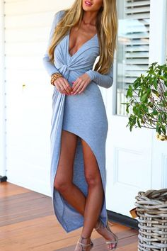 Blue Deep V-neck Long Sleeves Maxi Dress