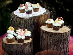 baby parties, cupcake stands, tree stumps, cakes, dessert tabl, serving trays, cake display, parti idea, log