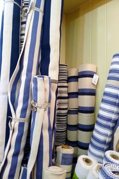 Dash & Albert's Wonderful Blue Striped Rugs. Love these rugs