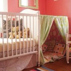 Use a curtain rod to make a reading nook