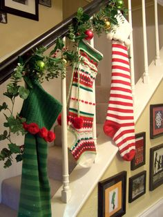 I like the idea of stockings on the stairs.