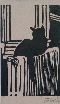 """Black Cat in Window Linoleum Block Print, 3"""" x 4"""""""