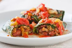 Collards Stuffed with Red Beans and Rice, like a Southern version of cabbage rolls. Deliciously vegan!