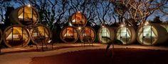 Concrete pipes transformed into eco-hotel in Mexico