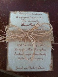 Hand made rustic invitation with burlap and by MemoryMakersDesigns, $5.50