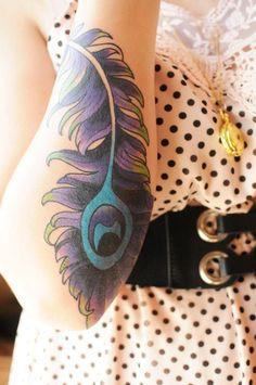 I <3 Feather Tattoos  #tattoos #peacock