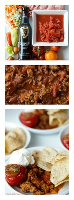 Labor Day individual serving or serve in a big pot with crunchy bread or chips. Use up those garden tomatoes! Easy Chili Appetizer | ReluctantEntertainer.com