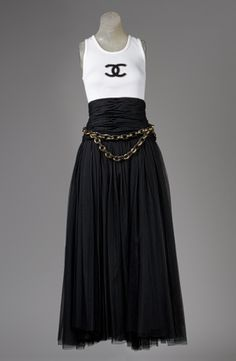 Evening ensemble, spring/summer 1992  Karl Lagerfeld (German, born 1938), for House of Chanel (French, founded 1913)  Silk, cotton, metal, wood