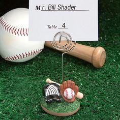 baseball centerpiece ideas | Baseball Themed Place Card Holders Birthday Party Favors