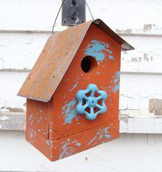 Rustic Recycled Birdhouse Blue Faucet Wooden Bird House Garden Decor Decorative Birdhouse Cottage French Country Farmhouse Orange Tangerine. $25.00, via Etsy.