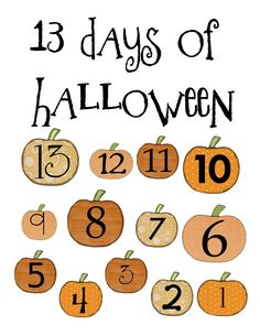 13 days of Halloween activities for kids (countdown) LOTS of great ideas, links, and downloads