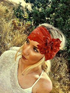 """""""Fall Fashionista"""" Lace Head Wrap, $28.00. Beautiful with the matching lip."""