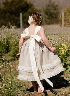 Rustic Flower Girl Dress. Linen Knot Dress for Girls. on Etsy, $70.00