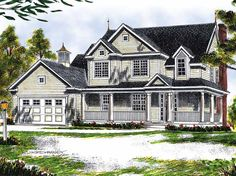 Home Plans HOMEPW01397 - 1,953 Square Feet, 4 Bedroom 2 Bathroom Farmhouse Home with 2 Garage Bays
