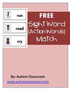 FREE Sight Word (Action Words) Match. #tpt #sightwords #cvc #free #freebie