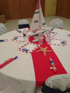 Table decor at a Nautical Baby Shower #nauticalparty #table