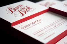 double-sided red-edged business cards for burn the book graphic & web design company via ohsobeautifulpaper.com.