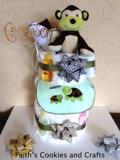 Personalized Diaper cake, card stock name with #twine from #PYP
